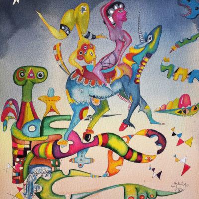 Dance of the Unicorn, 2021, wc, 12x10