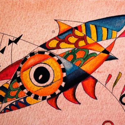 Yellow Fish, 2021, wc, 4x7